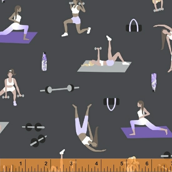 Fitness WINDHAM Patchworkstoff HEALTH /& WELLNESS Kombistoff grau-lila Sport