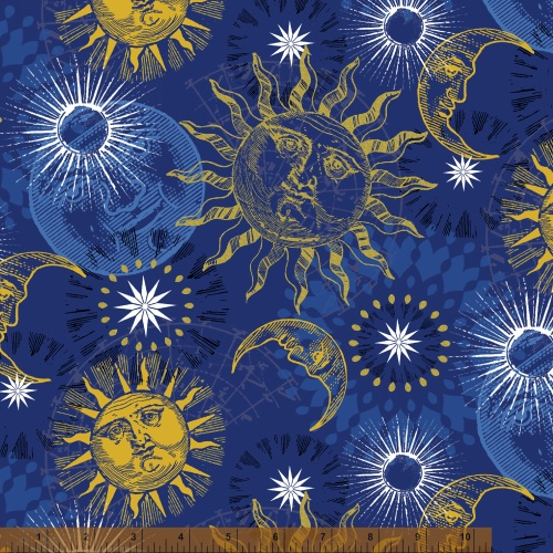 Sun moon star celestial fabric pics about space for Celestial pattern fabric