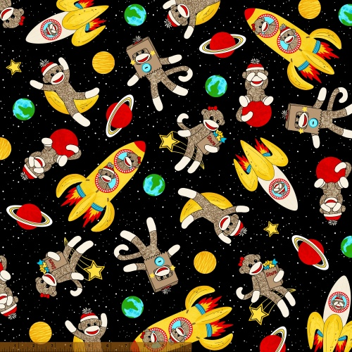 Sock monkeys in space 41169 x windham fabrics for Space fleece fabric