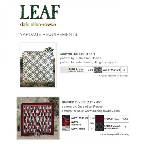 Leaf Yardage Charts by Various Designers