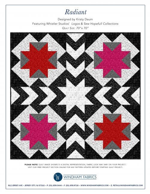 RADIANT Quilt Pattern by Kristy Daum //  Windham Fabrics #quilting #freequiltpattern #blackandwhite #whistlerstudios #modernquilt